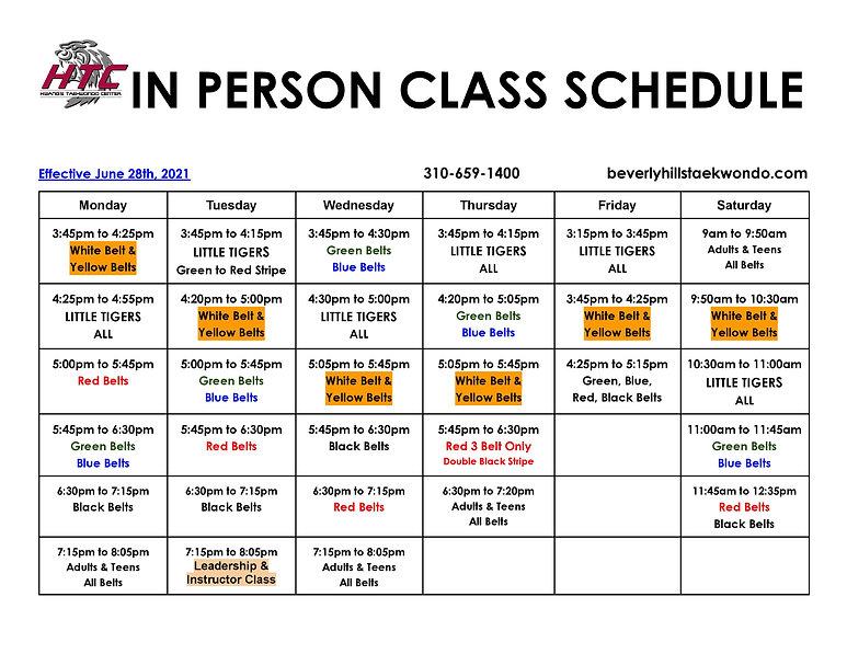 2021 In person class schedule June 28th