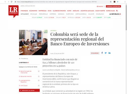 Colòmbia serà la seu de la representació regional del Banc Europeu d'Inversions