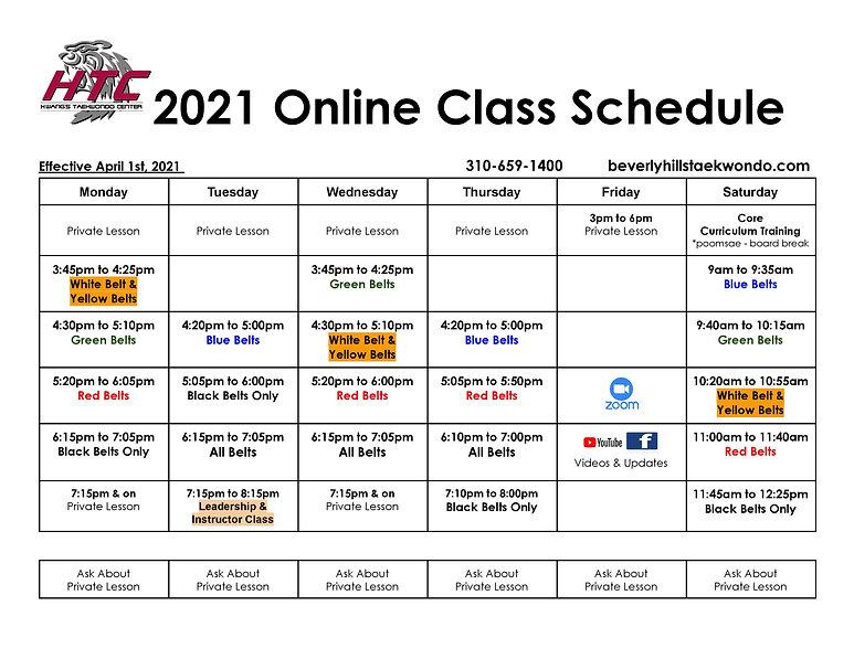 Online class schedule 202