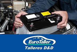 mecanico montando una bateria en un coche en un logotipo de talleres dyd eurotaller