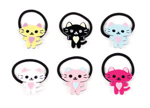 APJ - Pretty Kitty Ponytail Hold set of 6 - AP9028