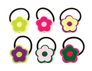 APJ - Modern Flower Ponytail Hld set of 6 - AP9012