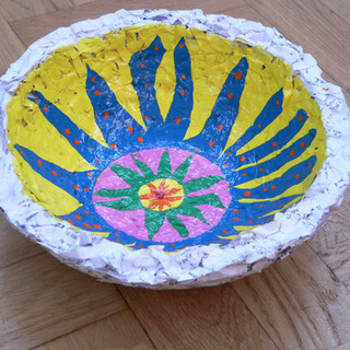 Shredded paper painted bowl