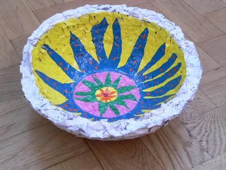 Shredded paper painted bowl Nov 2016.JPG