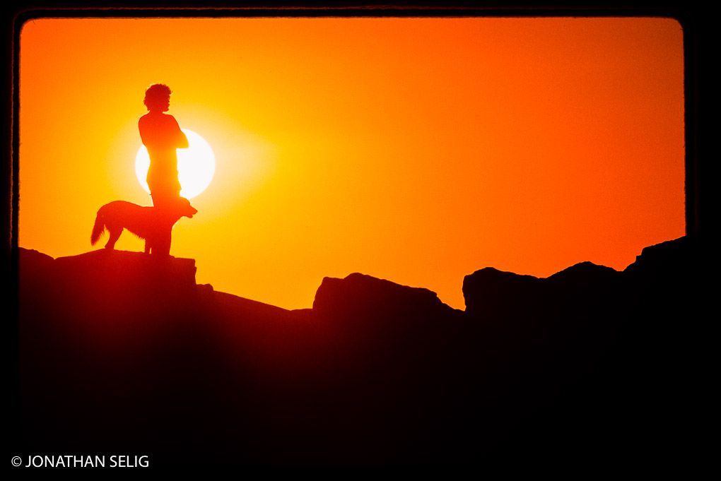 Sunset on the Rocks, Man and Dog