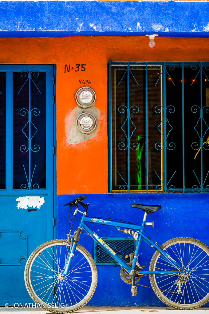 Blue & Orange Wall with Blue Bike