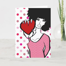 Afro Heart Valentine Card