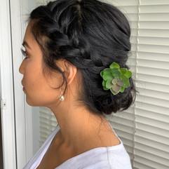 Bridal trial, low bun with side braid