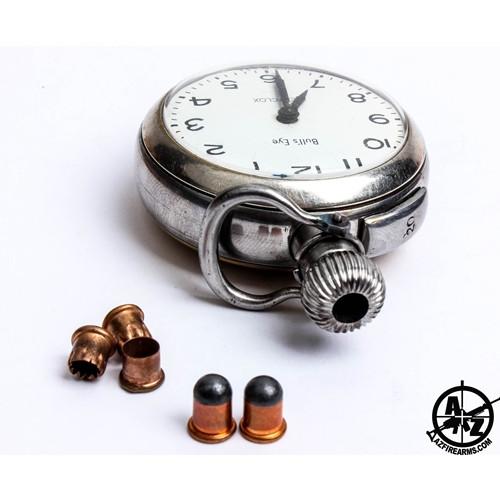 pocket watch, pistol, firearms curiosa