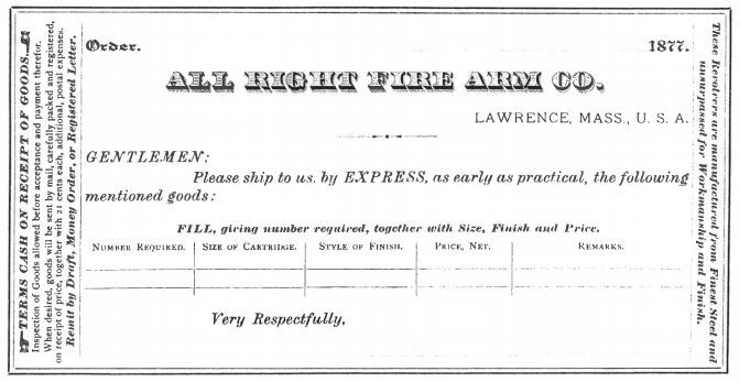 order form, pistol, pocket
