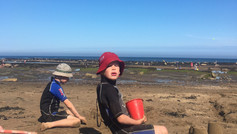 Boys building sandcastles!