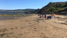 View south along the beach towards Ravenscar.