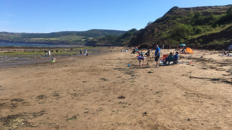 View south along the beach towards Ravenscar.