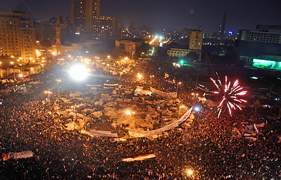 """Tahrir Square on February 11"" by Jonathan Rashad - Flickr. Licensed under Creative Commons Attribution 2.0 via Wikimedia Commons."