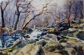 Winter morning, Padley Gorge - SOLD