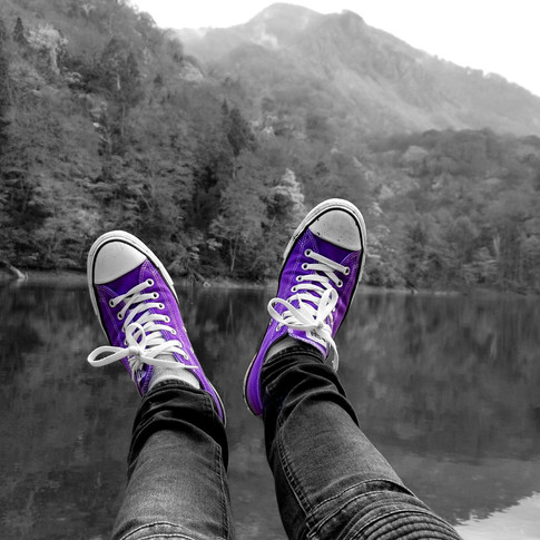 Purple Converse on Twelve Lakes in Aomori, Japan