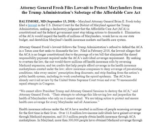 Attorney General Frosh Files Lawsuit to Protect Marylanders from the Trump Administration's Sabotage