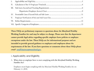 Maryland Healthy Working Families Act: Frequently Asked Questions