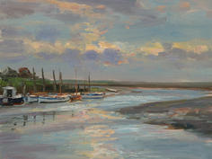 Evening reflections, quayside, Blakeney