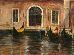 Pink washed facade & Gondolas, Venice