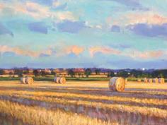 Evening shadows & bales, Norfolk