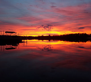 Sunset over the waters of Baby Lake Minnesota