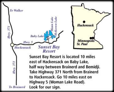 Sunset Bay Resort is located north of Brainerd and south of Walker, MN