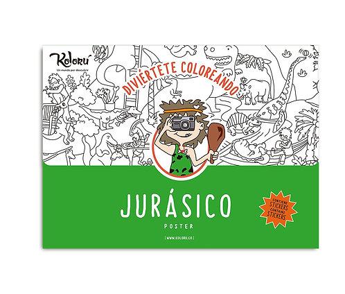 Póster para colorear Jurásico + stickers