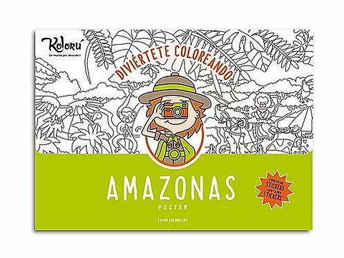 Póster para colorear Amazonas + stickers
