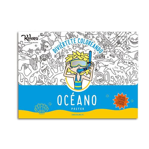Póster para colorear Océano + stickers