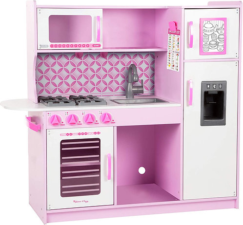 Cocina rosa de chef de madera