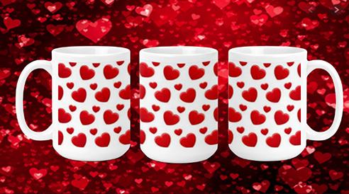 Hearts on white 15oz Valentine Mug
