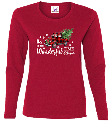 Most Wonderful Time Of The Year Red Truck Longsleeve Tee