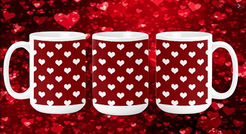 White Hearts on Red 15oz Valentine Mug