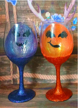 Pumpkin Face Wine Glass