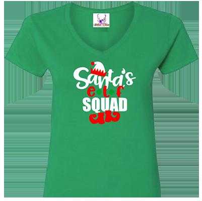 Santa's Elf Squad V Neck Tee