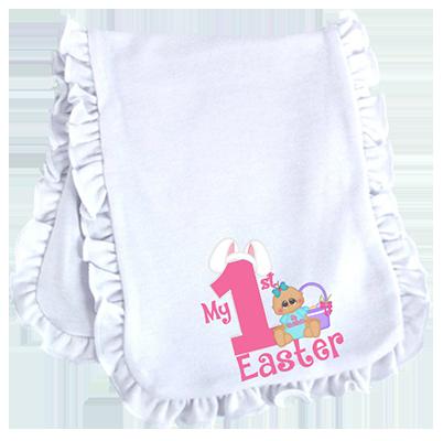 Baby Girl 1st Easter Ruffled or Scalloped Edge Burp Cloth