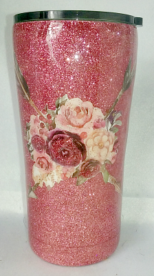Rose Gold Arrow Flowers Custom 20 oz Tumbler