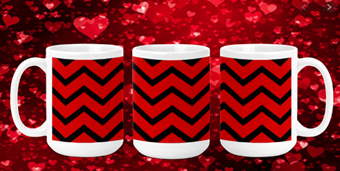 Red & Black Chevron 15oz Valentine Mug