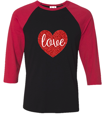 Love Glitter Heart Raglan