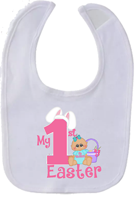 Baby Girl 1st Easter Bib