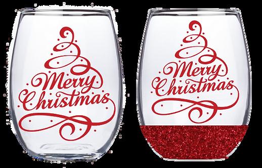 21oz Stemless Christmas Tree Wine Glass