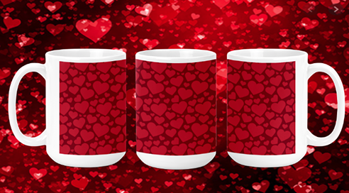 Red on Red Hearts 15oz Valentine Mug