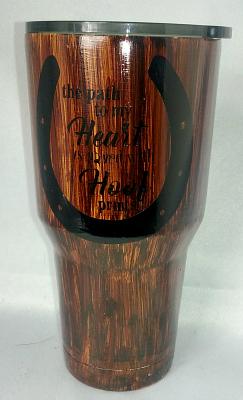 Paved Hooves Woodgrain Custom 30 oz Tumbler