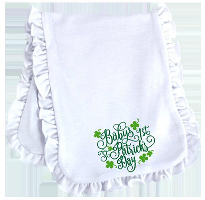 Baby's First St Patricks Day Ruffled Burp Cloth