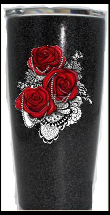 20 oz. Black Glitter Red Roses & Pearls Custom Travel Mug