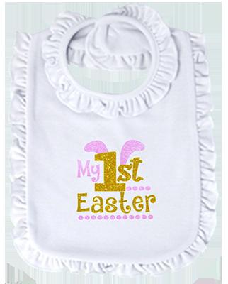 1st Easter Glitter Girl Ruffled or Scalloped Bib