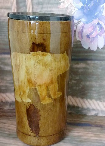 Woodgrain w/ Bear Travel Mug