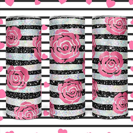 Pink Roses 20 or 30oz Skinny Custom Tumbler