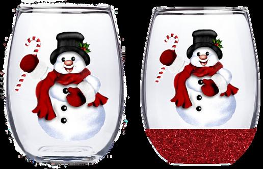 21oz Stemless Snowman Wine Glass